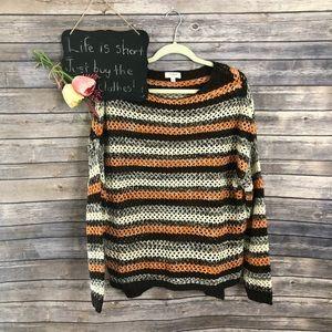 Umgee orange brown open knit oversized sweater